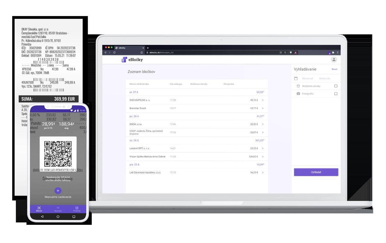 Aplikácia ebločky - bločky v mobile