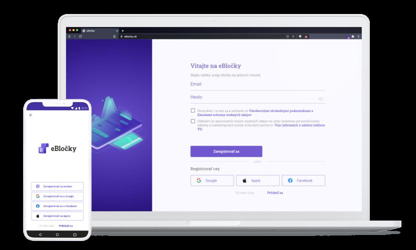 Stiahnite si bezplatnú aplikáciu eBločky a zaregistrujte sa